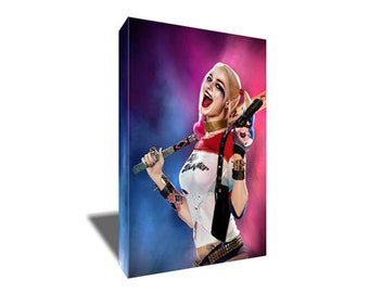FREE SHIPPING Margot Robbie as Harley Quinn Portrait Canvas Art