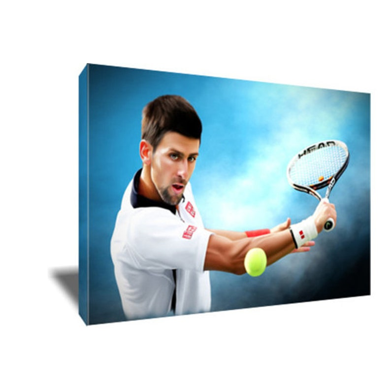 Tennis Framed Picture Art Print Novak Djokovic 30x20 Inch Canvas