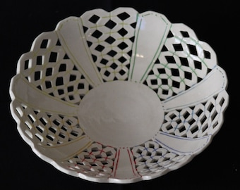 Cutout Bowl with Diamond Spoke Pattern and Rainbow Accent Lines