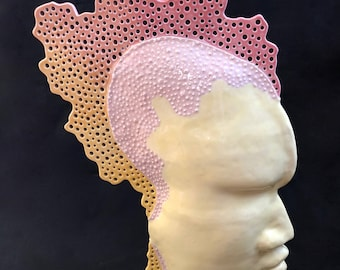 """Sunset Colored Face/Profile/Head Sculptural Piece - """"Dawn of Man"""""""