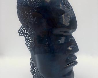 "Black/Blue - Face/Profile/Head Sculptural Piece - ""Power"""
