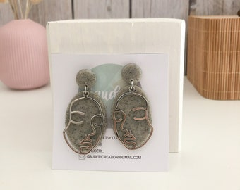 Polymer Clay stone effect grey earrings with metal face, lightweight