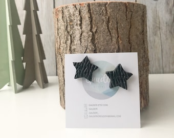 Polymer clay star stud earrings, black or rosegold