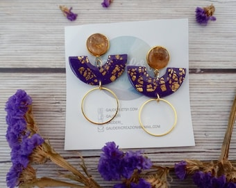 Polymer clay purple and golden leaf pendant earrings, very lightweight