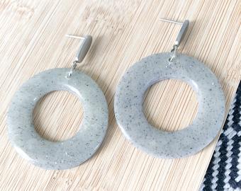 Polymer clay lightweight pendant earrings, stone effect