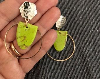 Pistachio green earrings, golden earrings, hoop earrings, light earrings, elegant earrings