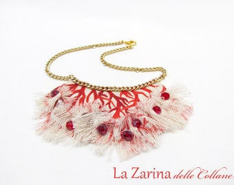 """Canvas necklace with fringe-""""Red coral"""""""