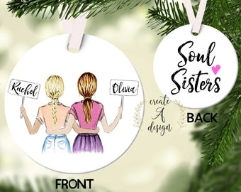 personalized best friend ornament ceramic ornament christmas gift for her best friends gifts soul sisters gift custom ornament
