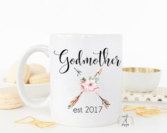 Godmother Coffee Mug - Gifts for Her, Gift idea for God Parent, Baptism Mug, Baptism Gift, God Mother Mug, Gifts for Godparent, m-94