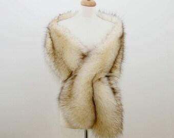 Winter bridal shawl, Faux fox fur shawl, bridal stole, bridal shrug, wedding shawl, wedding fur shrug