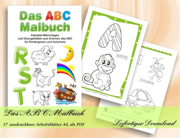 Das ABC Malbuch Alphabet Malvorlagen und Übungsblätter zum   Etsy