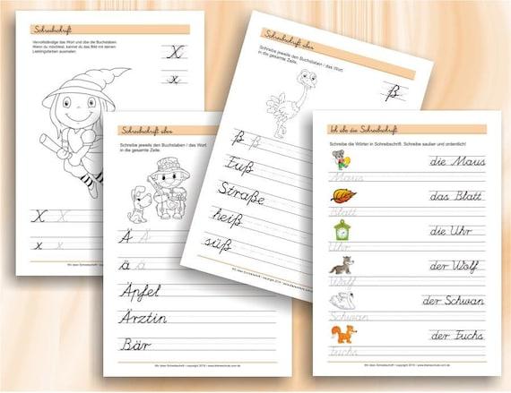 übungsblätter Zum Schreiben In Schreibschrift Für 1 2 Klasse Grundschule 56 Ausdruckbare Arbeitsblätter A4 Als Pdf