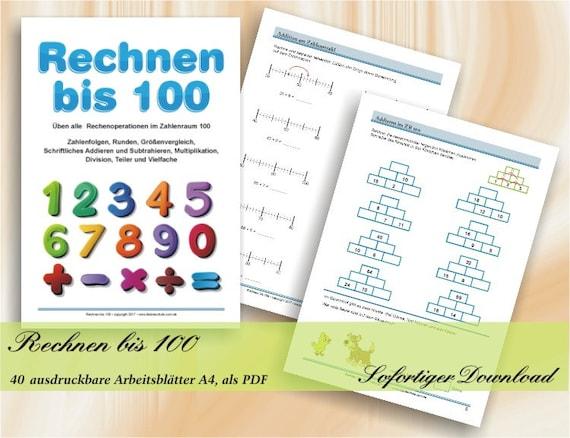 Rechnen bis 100 Übungen zum Ergänzen bis 100 | Etsy