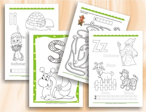 malvorlagen abc alphabet  kinder zeichnen und ausmalen