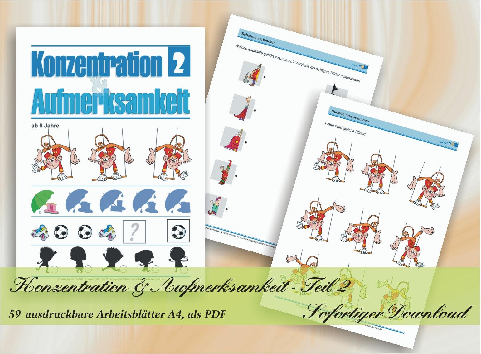 Konzentration & Aufmerksamkeit   Teil 20   Spielerische Förderung von  Konzentration und Aufmerksamkeit   20 ausdruckbare Arbeitsblätter A20