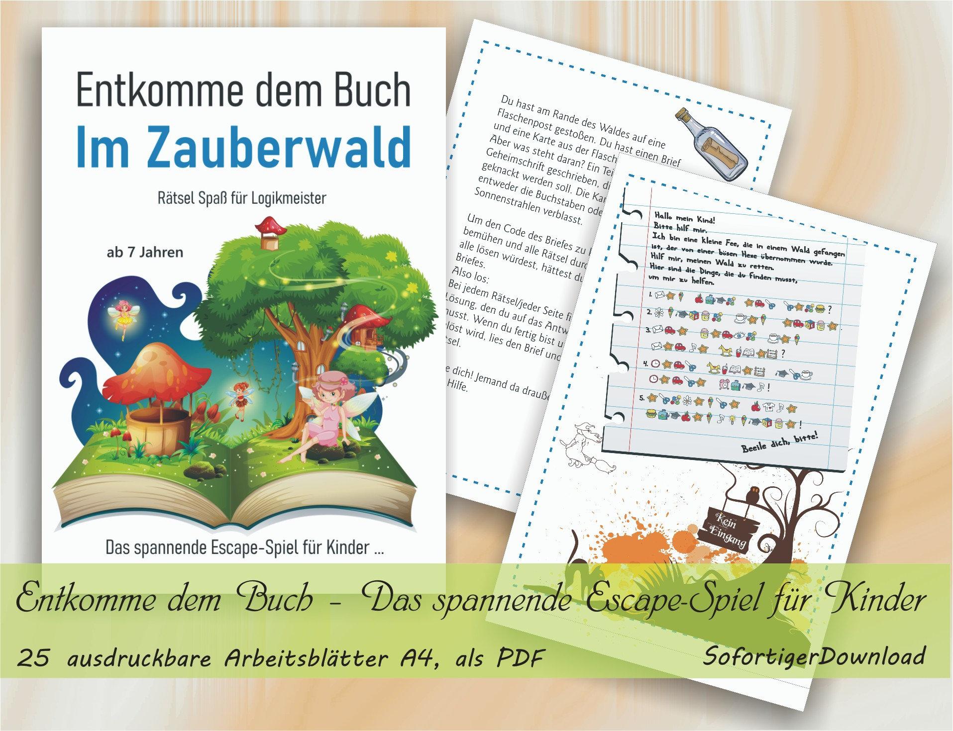 Entkomme dem Buch – Im Zauberwald – Das spannende Escape Spiel für Kinder  ...   20 ausdruckbare Arbeitsblätter mit Lösungen A20, als PDF