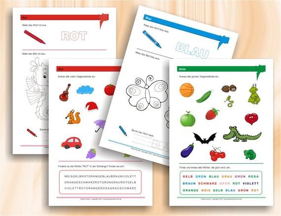 Farben lernen die ersten Übungen zu Farben Vorschule und | Etsy
