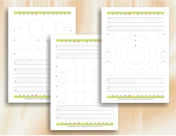 Schwungübungen Grafomotorische Übungsblätter für Kindergarten | Etsy