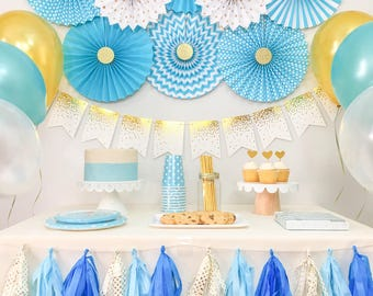 Baby Boy Shower Decorations Birthday Party Blue And Gold Kit In A Box Package