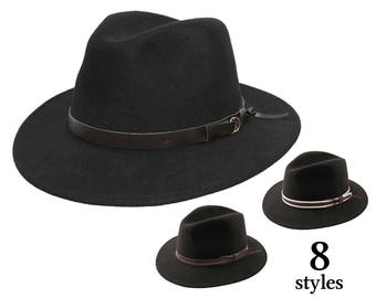 d23b4fb6c2b13 Felt Fedora Hat - Italy   Finishes in France - Crushable and Waterproof -  Black - Women s or Men s hat