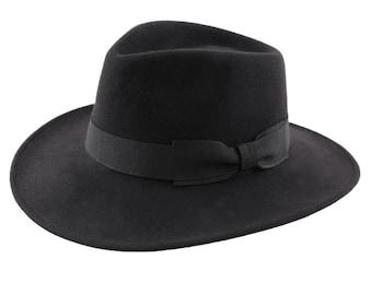 0b7f32bb2ef95 Felt Black Fedora Hat - Handmade - Crushable and Waterproof - Women s or Men s  hat