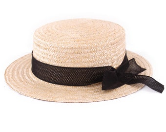6dd57a440bc9ea L' Equinoxe, Straw Boater Hat, Black, Sun and summer hat, women's or men's  hat