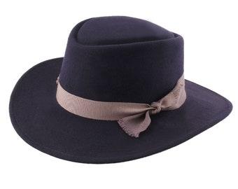 257b0fb551fc3 Felt cordobes Hat - Blue Navy - Handmade - Crushable and Waterproof -  Women s or Men s hat