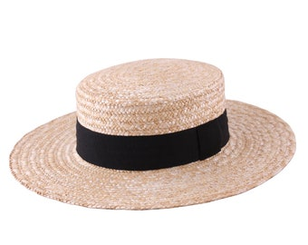 Large Boater Straw Hat, Sun and summer hat, women's or men's hat