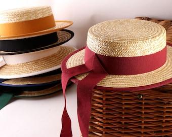 Boater Gondolier  Straw Hat, Sun and summer hat, women's men's or chidren's hat
