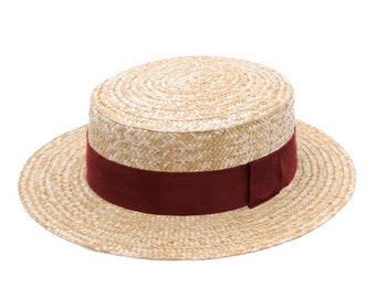 Straw Hat Boater Canotier, Sun and summer hat, women's men's