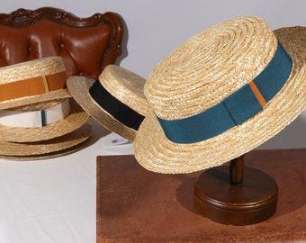Boater Biarritz Straw Hat, Sun and summer hat, women's men's