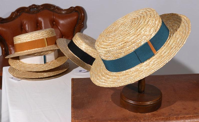 Edwardian Men's Fashion & Clothing 1900-1910s Boater Biarritz Straw Hat Sun and summer hat womens mens $35.23 AT vintagedancer.com