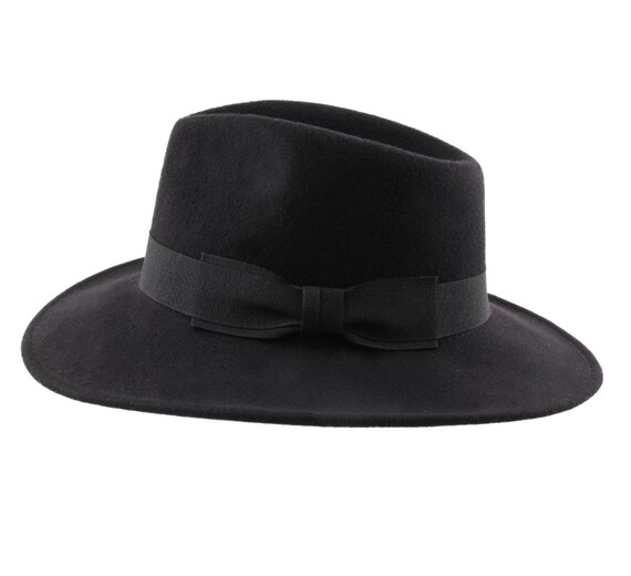 5e108bf60a02a Felt Black Fedora Hat Handmade Crushable and Waterproof
