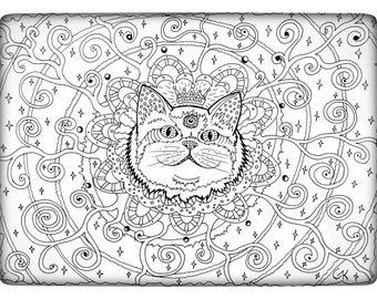Coloring Page Instant Download Spiritual Cat Round Third Eye With Stars HD