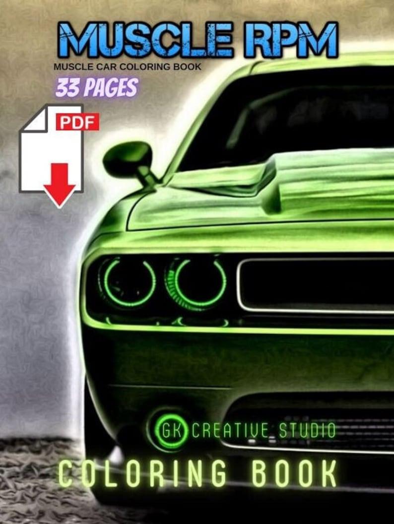 33 Muscle Car Coloring Book Digital Download PDF image 1
