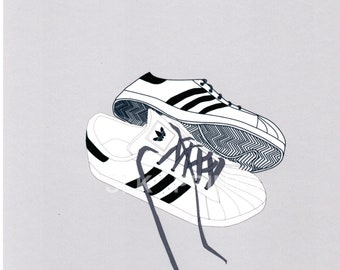 best website b5d75 e7320 adidas superstar illustration trainers art print poster