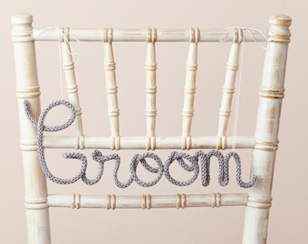 wedding chair signs - mr and mrs ornament sign - Knit sign - wedding signs ideas - Groom chair sign - wedding signs - mr and mrs signs