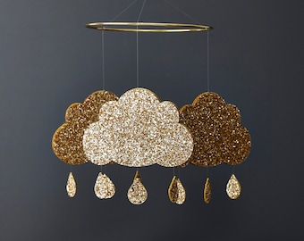 Gold Glitter Nursery Mobile - Cloud Baby Mobile - Baby Mobile - Gold nursery Mobile -  cloud baby mobile - cloud mobile - Baby Mobile