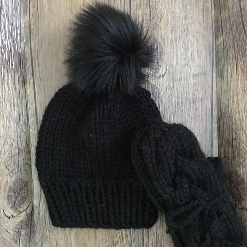 98bd1a67559 Made to Order Knit Hat Cable Mitten Set Wool Mittens Warm