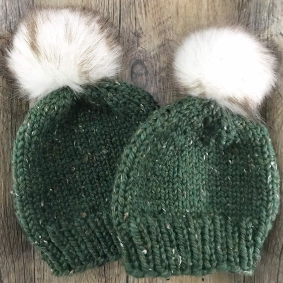 Made to Order Mommy and Me Knit Hat Set Chunky Knit Winter  2e74f807477