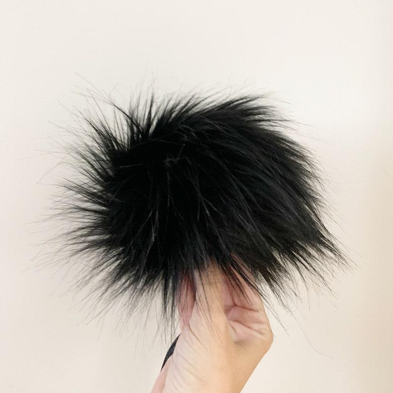 Midnight Black Luxury Faux Fur Pom pom Fake Fur Pom for Hats FAUX FUR POM Handmade Luxury Pom Vegan Fur Pompom Large Luxury Pom