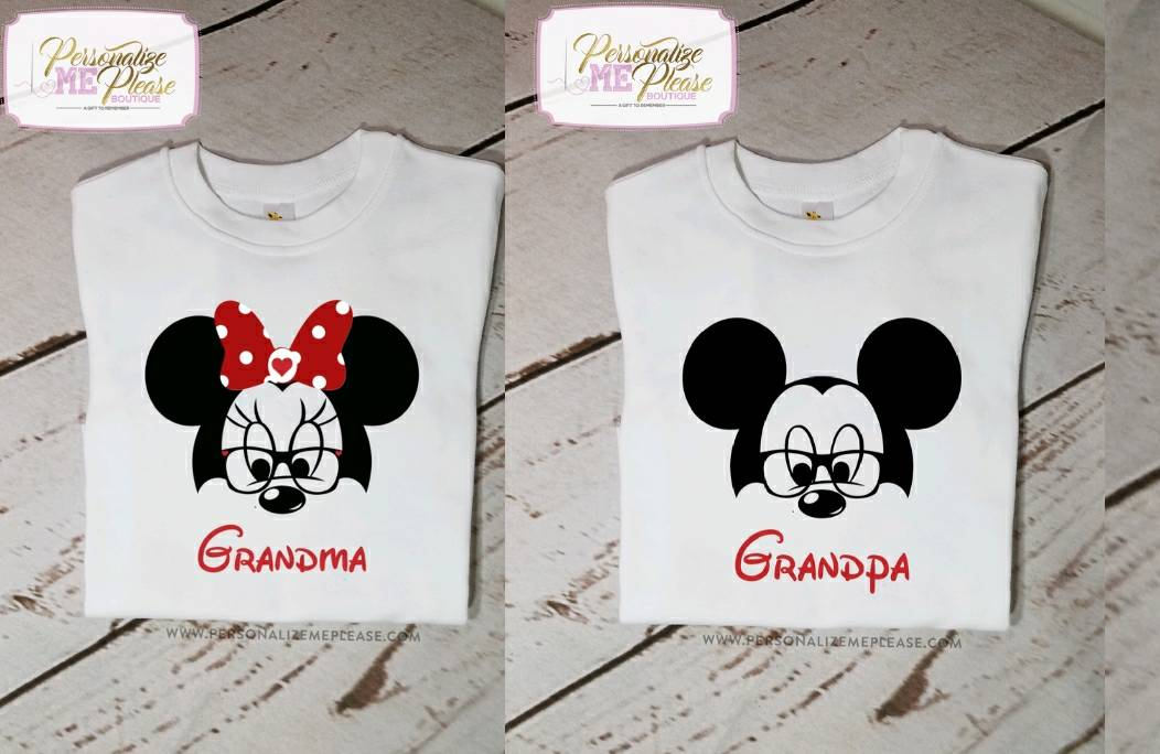 Grandma Minnie Mouse And Grandpa Mickey Birthday Party Disney Trip Matching Shirts