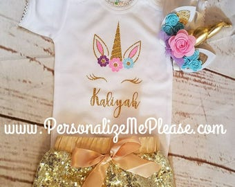 Unicorn Birthday Outfit,  Unicorn Birthday Shirt , Pink and Gold  Baby Girl Birthday Outfit, , Gold Sparkle Sequin Shorts