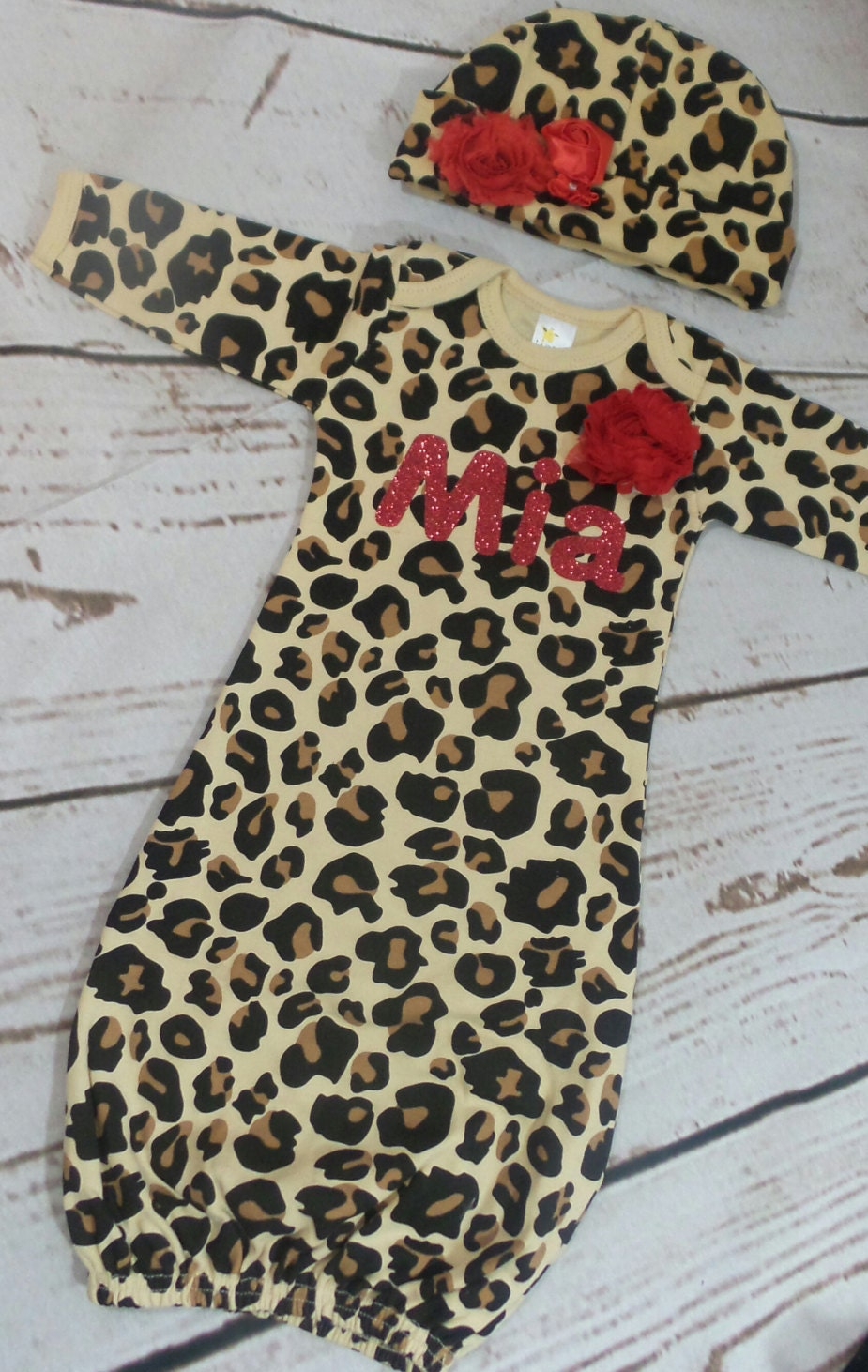 Personalize Leopard Print and Red Baby Layette and Hat Set e50958479