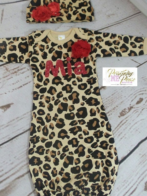 Personalize Leopard Print and Red Baby Layette and Hat Set, Baby ...