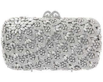 5d59b0a4a60ee Crystal Clutch Silver plated stones Bridal clutch evening party purse  Bridal Wedding