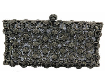 3c4abaaadf Crystal clutch Hematite Gray Bling Skull evening party purse