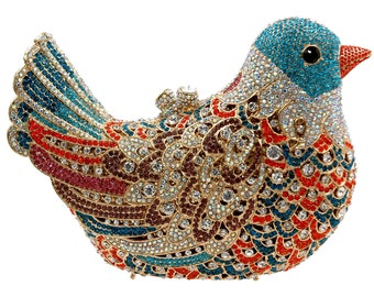 d642905208 Luxury Bling crystal stones purse clutch evening party purse multi color  Bird Pigeon