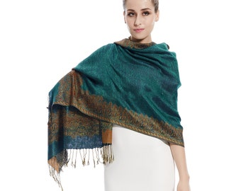 8f892f3e306 Dark Green Paisley Scarf Pashmina Shawl Elegant Fringed Gift idea