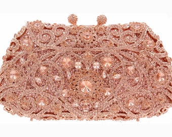 038908203a34 Luxury bag full crystal Rose gold champagne stones Bridal clutch evening  party purse Wedding